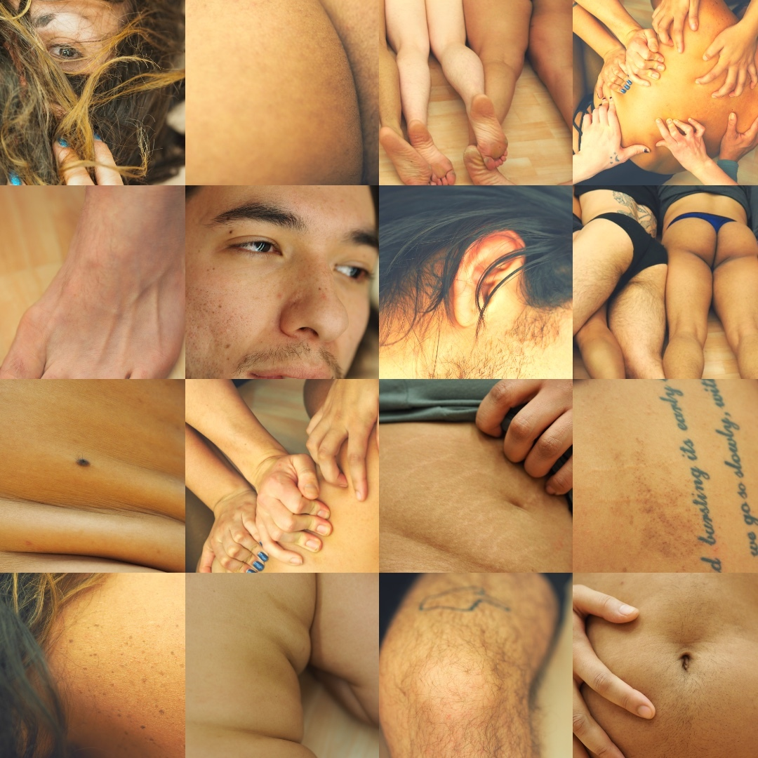 grid of pictures reflecting moles, tattoos, birthmarks, stretchmarks,  scars, on multiple bodies